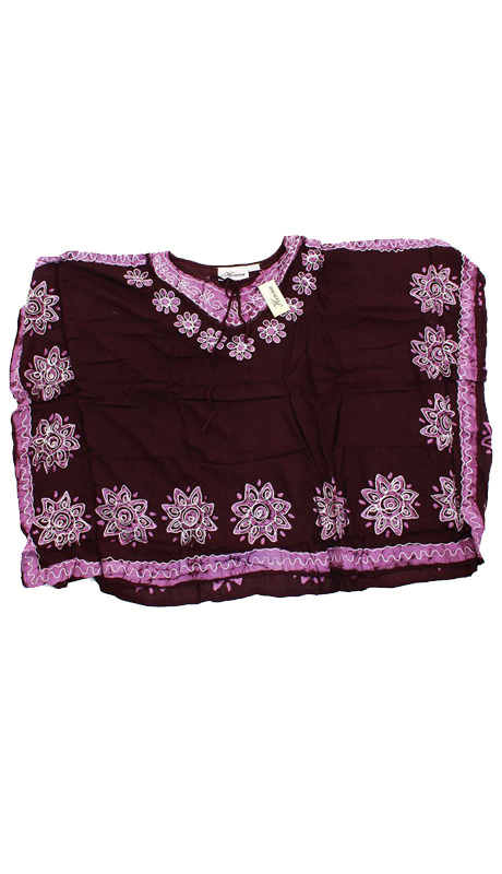 Heritage WH259-BP ( 1pc Womens Batik Flower Poncho-Dashiki, Sleeveless With Ruffled Shoulders )