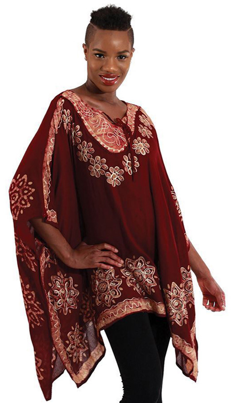 Heritage WH259-BR ( 1pc Womens Batik Flower Poncho-Dashiki, Sleeveless With Ruffled Shoulders )