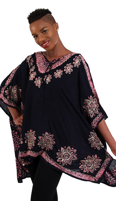 Heritage WH259-NP ( 1pc Womens Batik Flower Poncho-Dashiki, Sleeveless With Ruffled Shoulders )