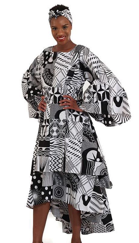 Heritage WH262-BW ( 1pc Womens Black With White Multi-Tiered Dress )