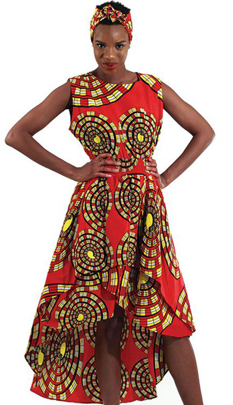 Heritage WH263-BB ( 1pc Womens Printed Hi Lo Dress With Matching Scarf )