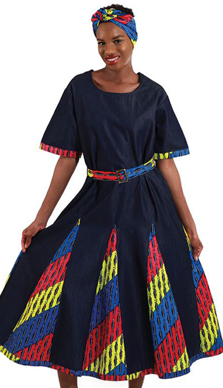 Heritage WH270  ( 1pc Womens Denim And African Print Dress With elastic Back And Matching Head Scarf )