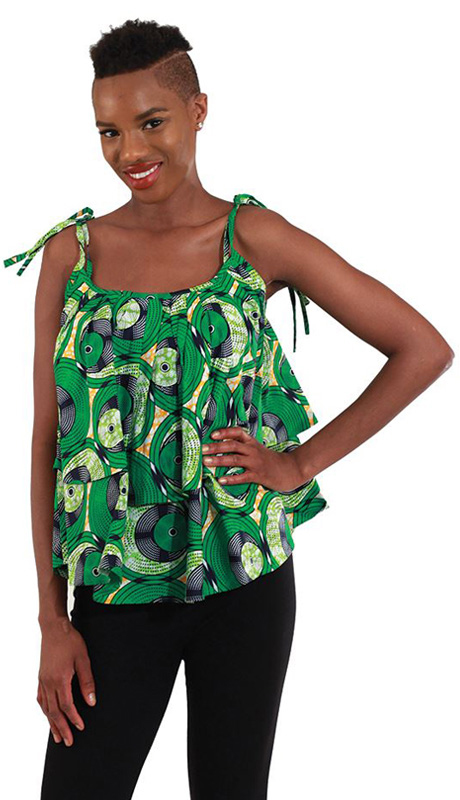Heritage WH273-BB ( 1pc Womens African Print Tier-Tie Top )