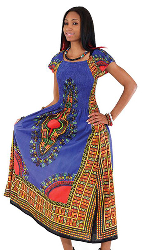 Heritage C-WF908-BLU ( 1pc Women's Traditional Print Dress With Fitted Stretch Bodice )