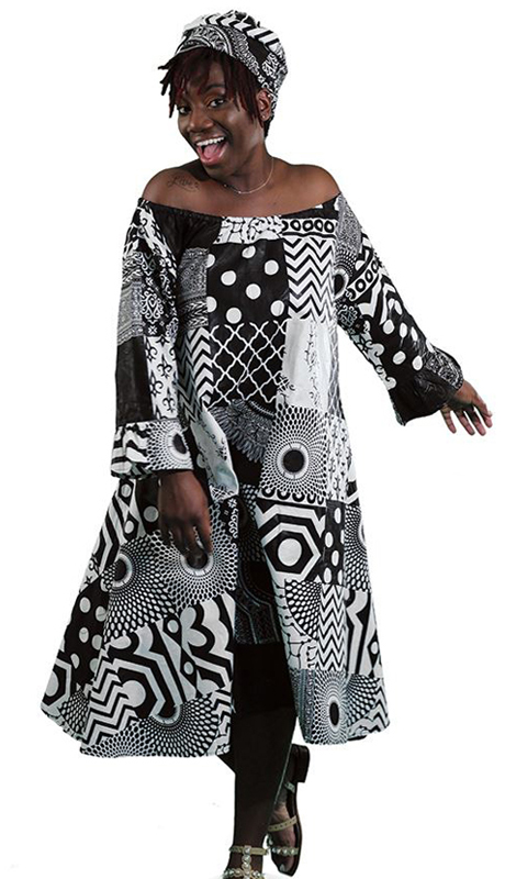 Heritage C-WK042 ( 2pc Traditional African Print Queen Dress With Matching Head Wrap )
