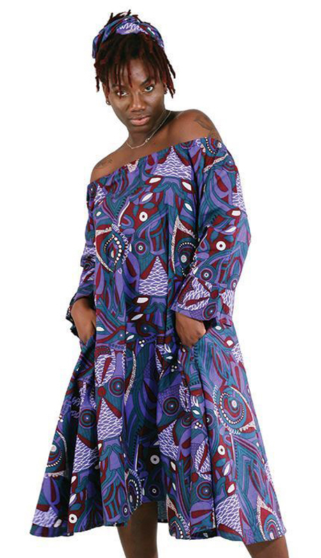 Heritage C-WK043 ( 2pc Traditional African Print Queen Dress With Matching Head Wrap )