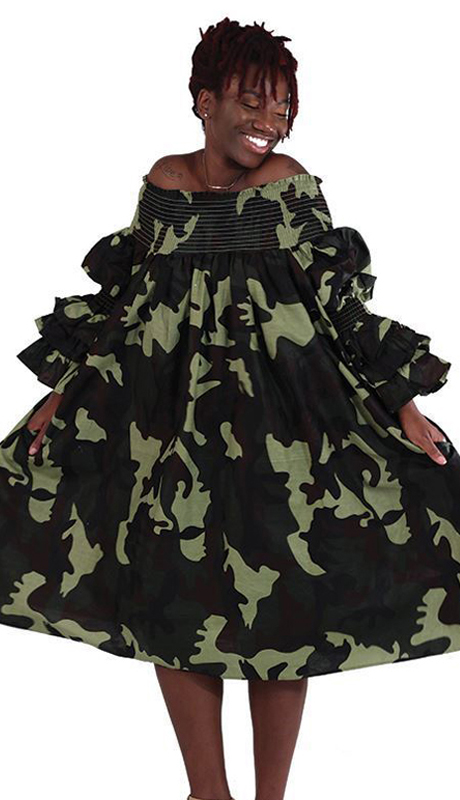 Heritage C-WK044 ( 1pc Green Camo Smocking Dress )