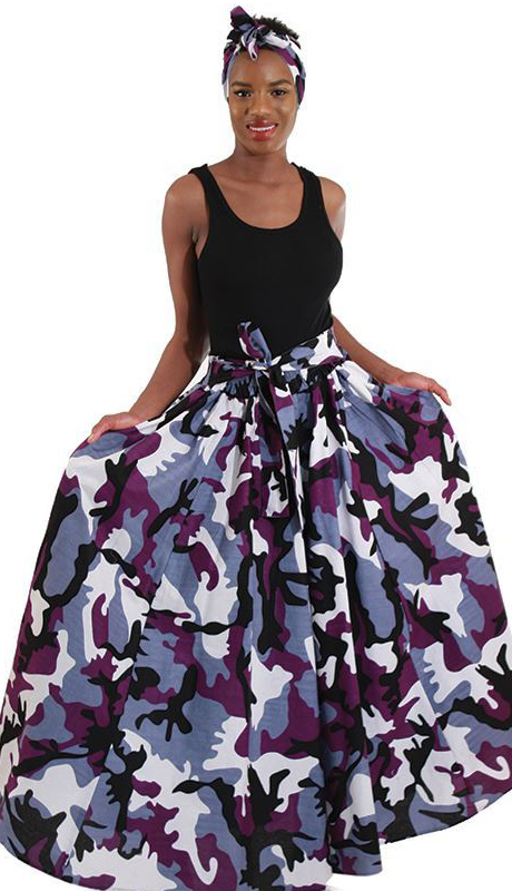 Heritage C-WH136-PU ( 2pc Camo Print Maxi Skirt With Matching Head Scarf )
