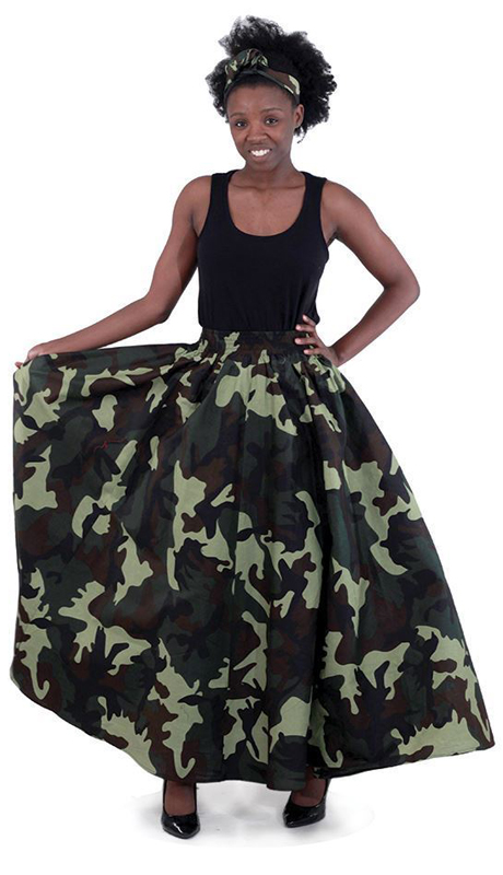 Heritage C-WH136-GN ( 2pc Camo Print Maxi Skirt With Matching Head Scarf )