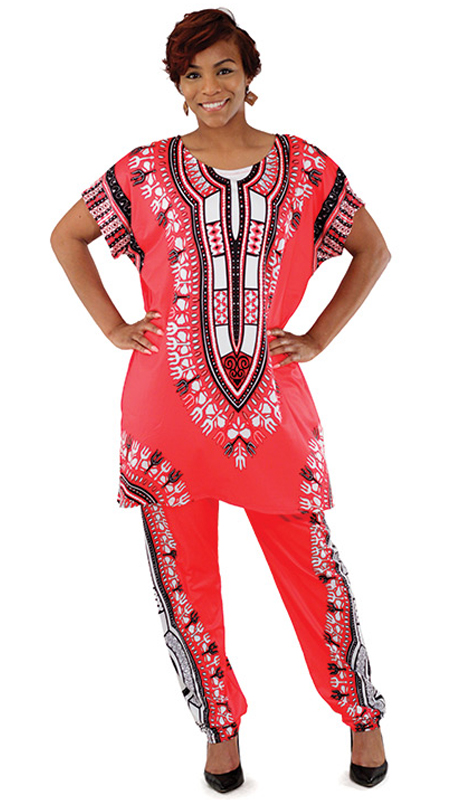 Heritage -C-WS834-RE ( 2pc Plus Sized Traditional Print Pant Set )
