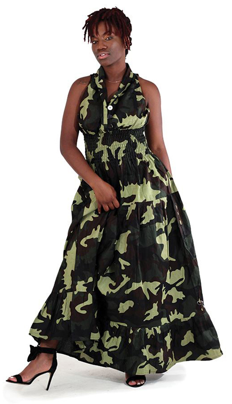 Heritage C-WK048 ( 1pc Green Camo Sleeveless Dress )