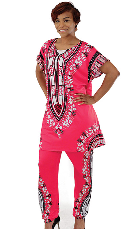 Heritage -C-WS834-PI ( 2pc Plus Sized Traditional Print Pant Set )
