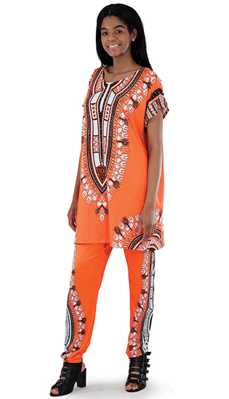 Heritage -C-WS834-OR ( 2pc Plus Sized Traditional Print Pant Set )