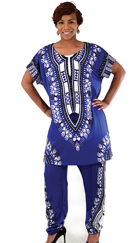 Heritage -C-WS834-BL ( 2pc Plus Sized Traditional Print Pant Set )
