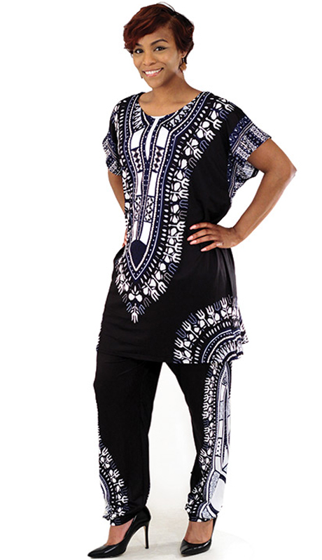 Heritage -C-WS834-BK ( 2pc Plus Sized Traditional Print Pant Set )