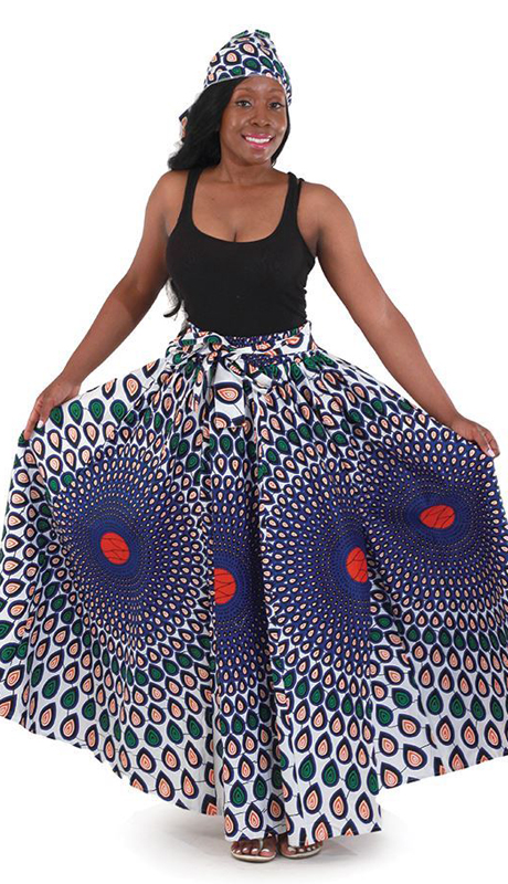 Heritage C-WH288-BL ( Peacock Maxi Skirt With Head Wrap )