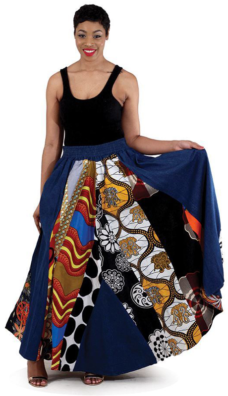 Heritage C-WH101 ( 1pc Mixed Print Denim Skirt )