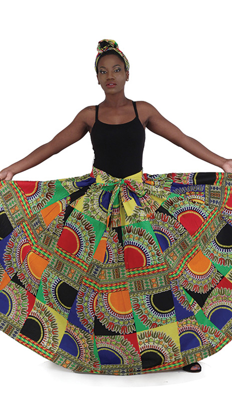 Heritage -C-WH023 ( 1pc Traditional Patch Print Maxi Skirt )
