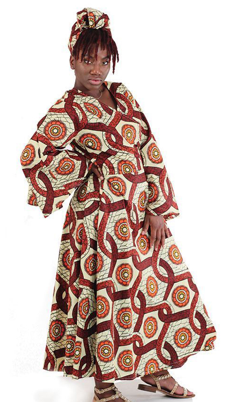 Heritage C-WK051 ( 2pc Traditional Western Print Wrap Dress With Matching Head Wrap )