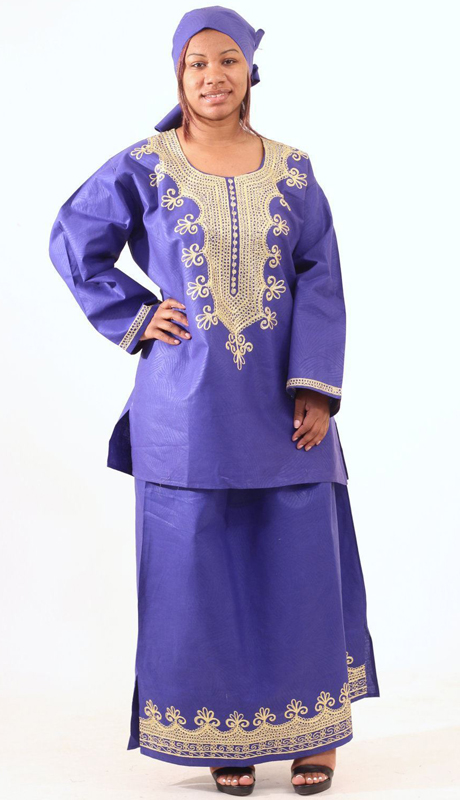 Heritage C-WH466-RB ( Embroidered Skirt Set With Matching Headwrap )