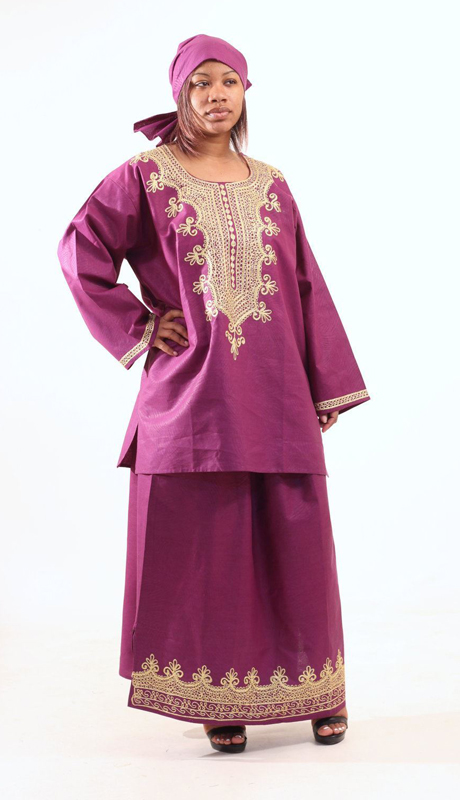Heritage C-WH466-PU ( Embroidered Skirt Set With Matching Headwrap )