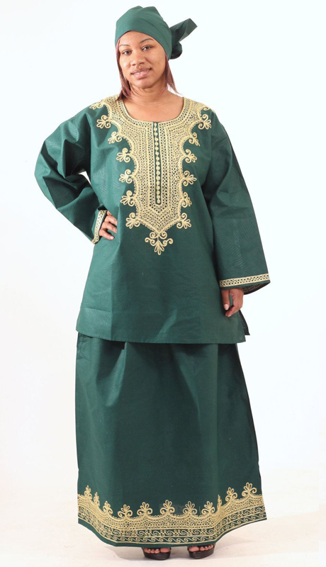Heritage C-WH466-GN ( Embroidered Skirt Set With Matching Headwrap )