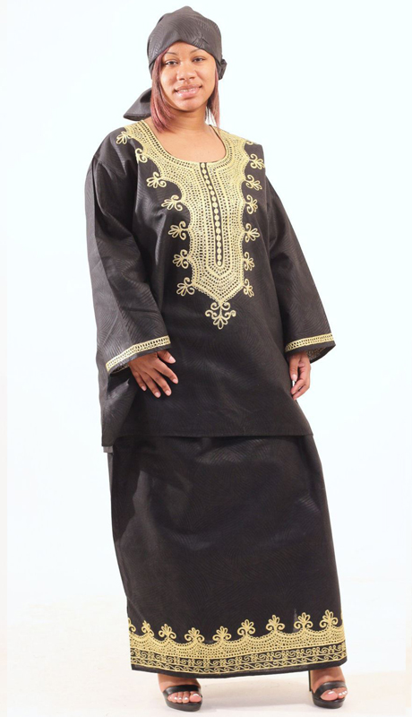 Heritage C-WH466-BK ( Embroidered Skirt Set With Matching Headwrap )
