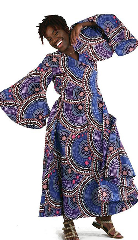 Heritage C-WK052 ( 1pc Traditional Circle & Star Print Wrap Dress )