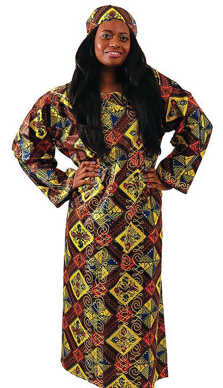 Heritage C-WH423-MP ( Embroidered Royalty Print Kaftan With Headwrap )