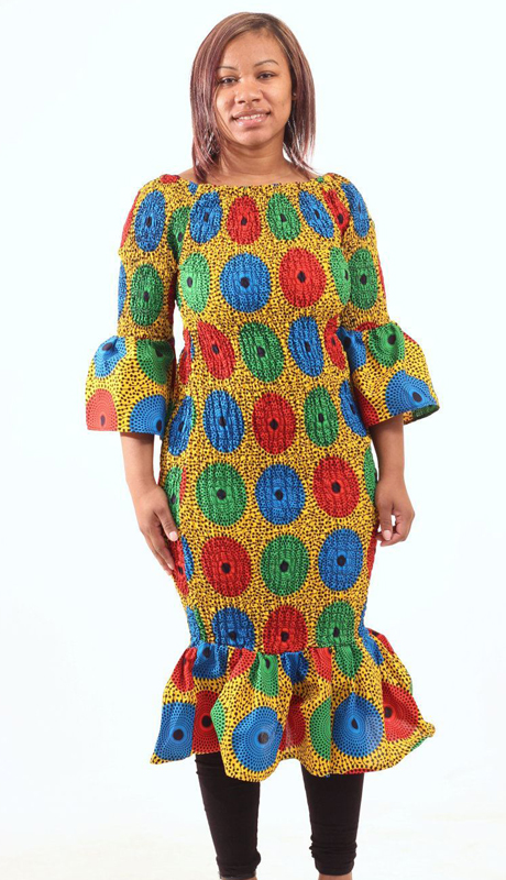 Heritage C-W131-MU ( 1pc Multi Color Circle Print Dress )