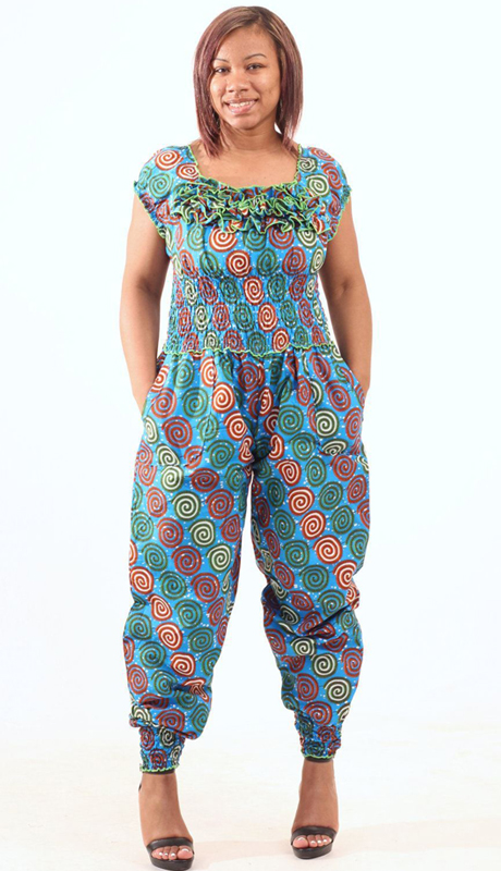 Heritage C-W128-MU ( 1pc Spiral Print Off Shoulder Jump Suit )