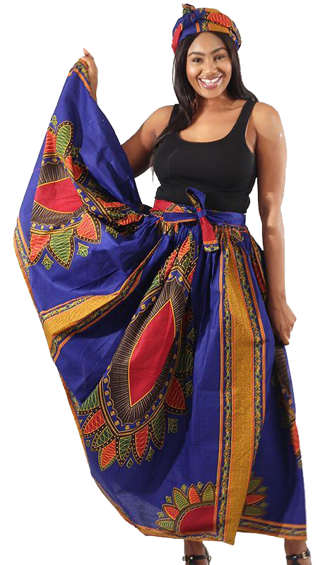 Heritage C-W476-BP ( 1pc African Print Long Skirt With Head Wrap )