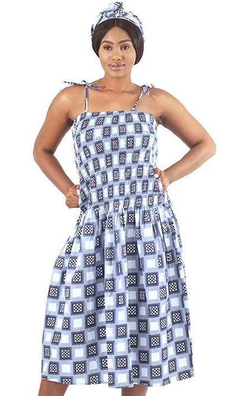 Heritage C-WH475-BP ( 1pc Checkered Print Dress )