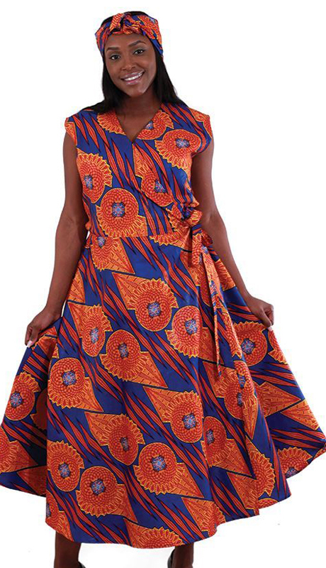 Heritage C-WH160 ( 2pc Sleeveless Wrap Dress With Authentic Design With Head Wrap )