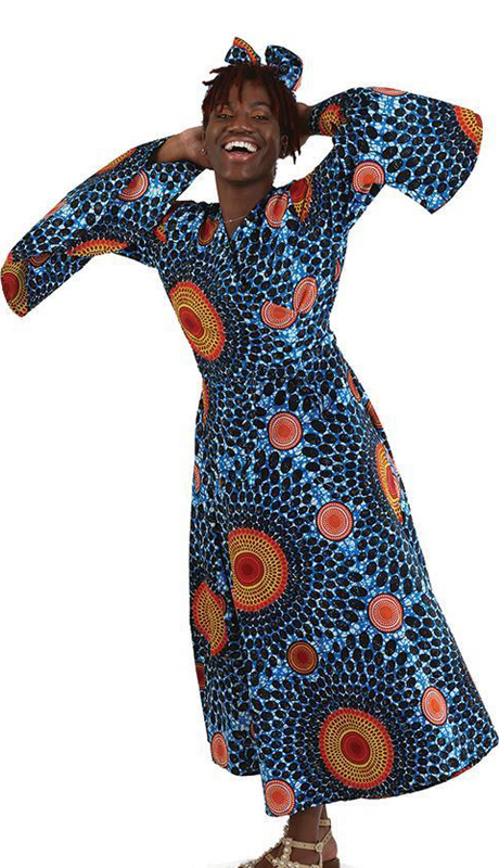 Heritage C-WK053 ( 2pc Circle Print Wrap Dress With Beautiful Contrast With Head Wrap )