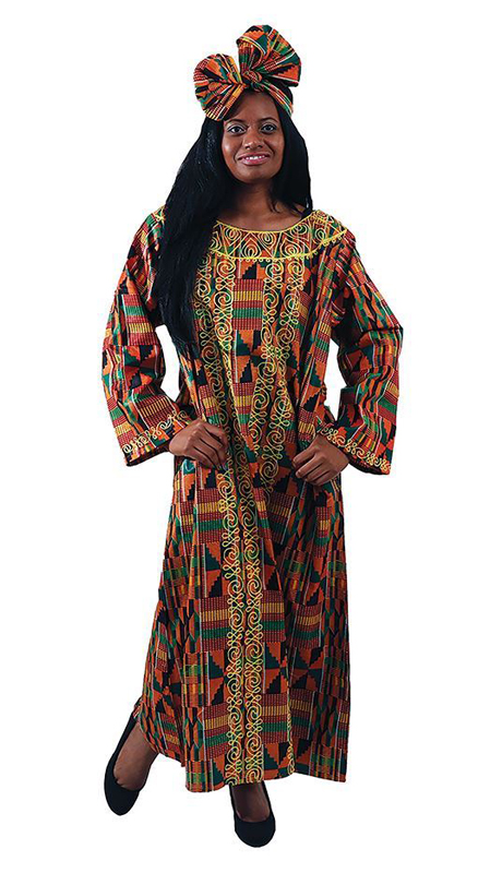 Heritage C-WH421-MP ( 1pc Embroidered Kente Kaftan With Matching Head Wrap )