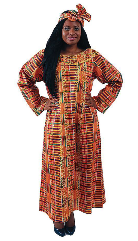 Heritage C-WH421-OP ( 1pc Embroidered Kente Kaftan With Matching Head Wrap )