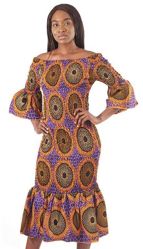 Heritage C-W135-PP ( 1pc Circle Print Elastic Dress )