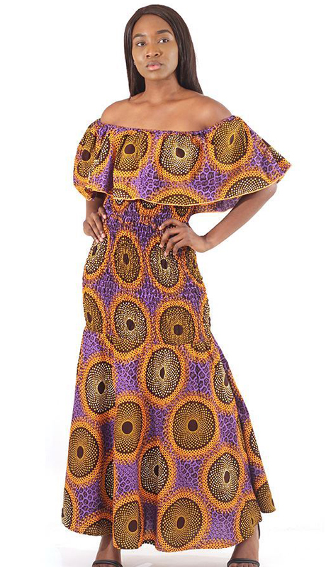 Heritage C-W133-PP ( 1pc African Made Circle Print Elastic Dress )