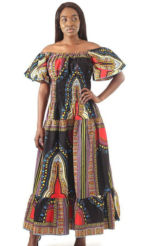 Heritage C-W132-BK ( 1pc Trad Print Stretch Top Princess Dress )