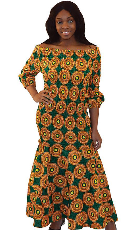 Heritage C-W127-GY ( 1pc Circle Print Elastic Dress )