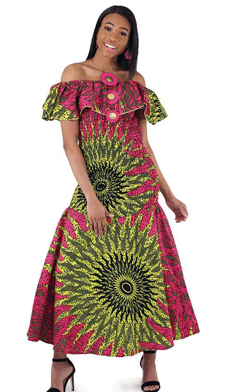 Heritage C-WH124-PP ( 1pc African Made Elastic Sun Dress )