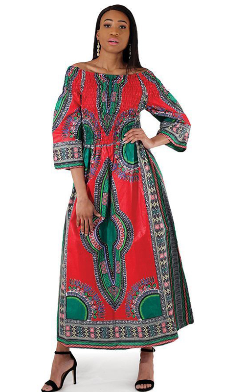 Heritage C-W123-RP ( 1pc Traditional Print Queen Dress )