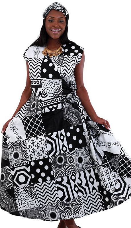 Heritage C-WH158-BW ( 1pc Sleeveless Wrap Dress With Head Wrap )