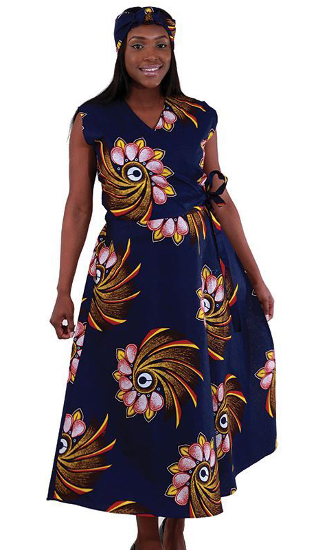 Heritage C-WH159-NP ( 1pc Sleeveless Wrap Dress With Head Wrap )