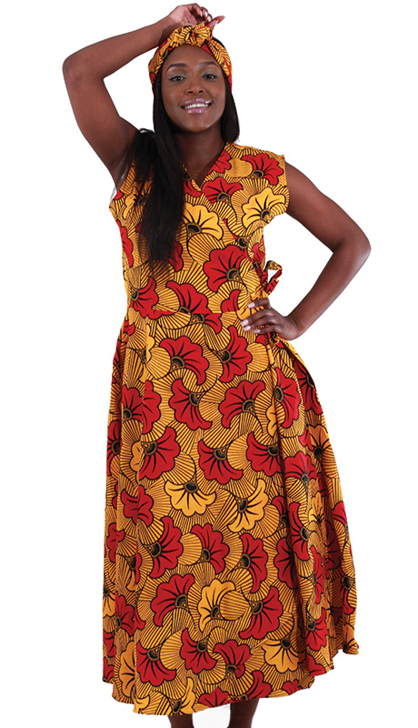 Heritage C-WH161-OP ( 1pc Sleeveless Wrap Dress With Head Scarf )
