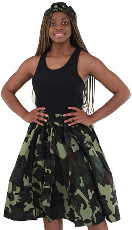 Heritage C-WH289-GP ( 1pc Camo Elastic Skirt With Matching Head Wrap )