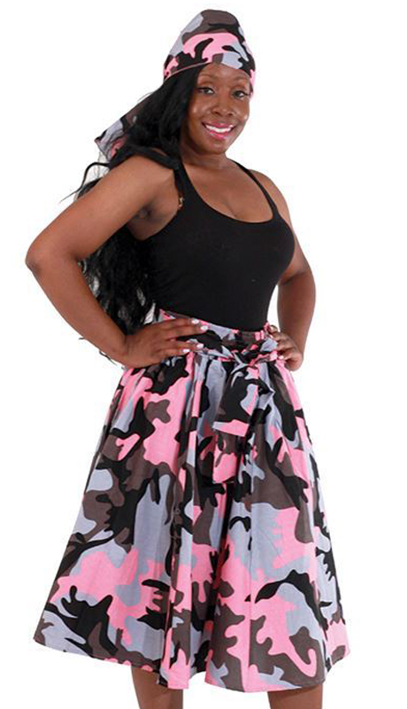 Heritage C-WH289-PP ( 1pc Camo Elastic Skirt With Matching Head Wrap )