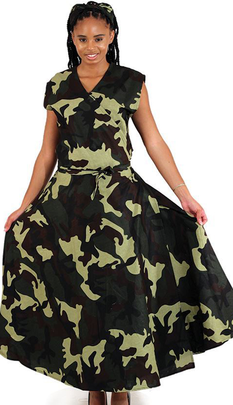 Heritage C-WK009-GP ( 1pc Sleeveless Camo Wrap Dress )