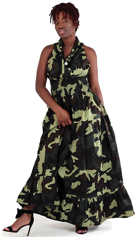 Heritage C-WK047-GP ( 1pc Camo Sleeveless Zebra Print Dress )